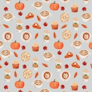 MINI - pumpkin spice latte fabric, watercolor fabric, watercolor latte, holiday, fall fabric