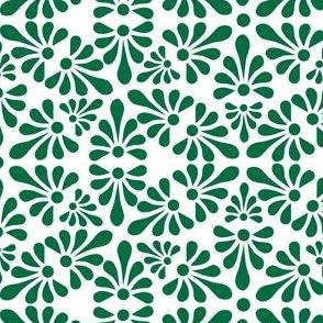 Talavera Fan Motif -  Green on White