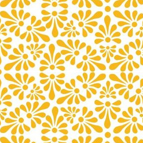 Talavera Fan Motif -  Marigold Yellow on White