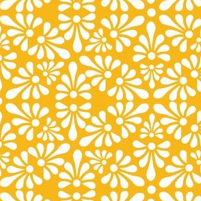 Talavera Fan Motif - White on Marigold