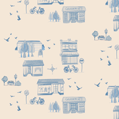 Modern toile Village life in blue