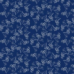 grass stalks white on navy - small