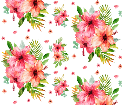 "12"" Hibiscus Waterfall // White fabric by hipkiddesigns on Spoonflower - custom fabric"