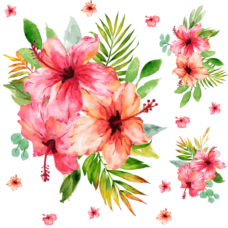 "8"" Hibiscus Waterfall // White fabric by hipkiddesigns on Spoonflower - custom fabric"