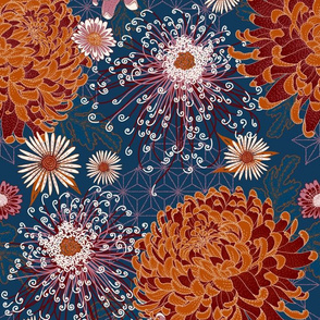 Japanese Chrysanthemums in peacock-mauve-terracotta-burgundy