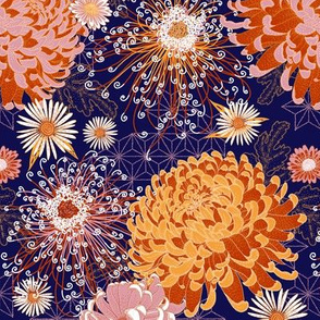 Japanese Chrysanthemums in midnight-saffron-terracotta-blush