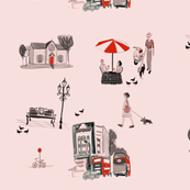 Modern toile street scene pink and red