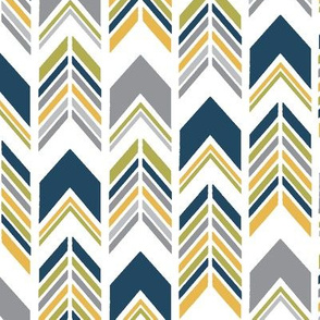 Chevron Arrows Small Scale in Mustard, Lime, Navy and Grey - Southwest Horizon Collection