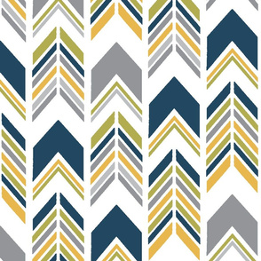 Chevron Arrows 3 1/2 inch Scale in Mustard, Lime, Dark Blue and Grey - Southwest Horizon Collection