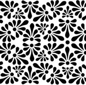 Talavera Fan Motif - Black on White