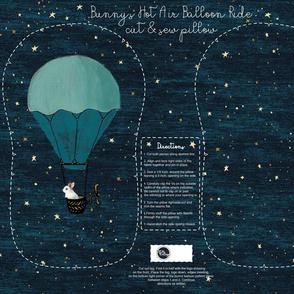 Plushie Bunny's Hot Air Balloon Ride Cut & Sew Pillow