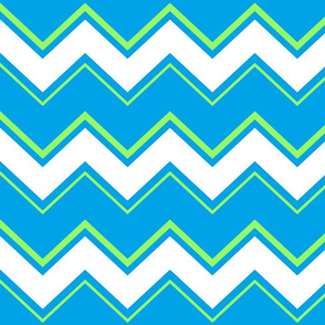 Bright Blue Green Zig-Zag