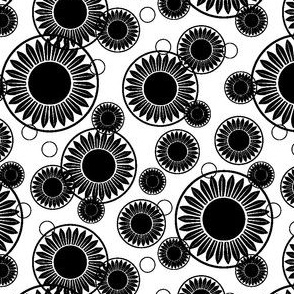 Floral Motifs Black and White