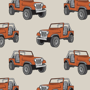 (jumbo scale) jeep - rust orange on beige C18BS