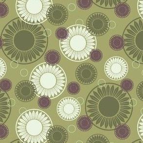 Floral Motifs Olive Green