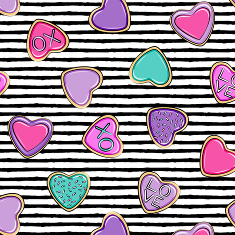 heart sugar cookies - valentines - black stripe fabric by littlearrowdesign on Spoonflower - custom fabric