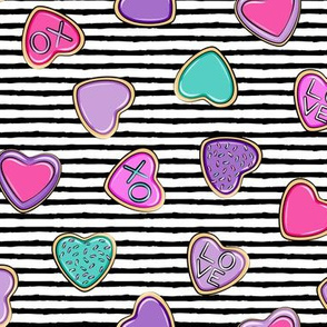 heart sugar cookies - valentines - black stripe