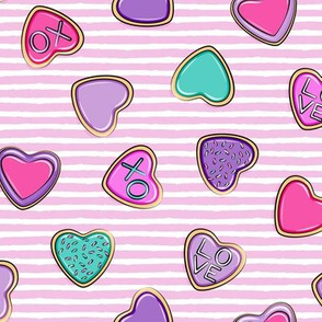 heart sugar cookies - valentines - multi on pink stripes