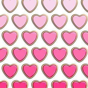 heart sugar cookies - valentines - pink gradient