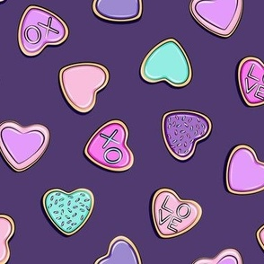 heart sugar cookies - valentines - purple