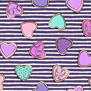 heart sugar cookies - valentines - purple stripe