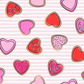 heart sugar cookies - valentines - pink stripe