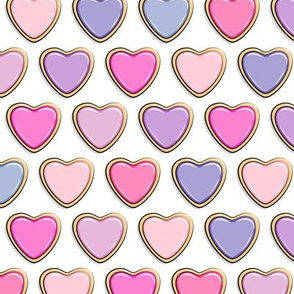 heart sugar cookies - valentines - multi colored pinks and purple