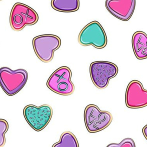 heart sugar cookies - valentines - multi toss