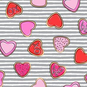 heart sugar cookies - valentines - grey stripe