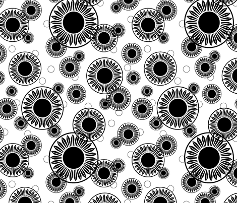 Floral Motif Black White Large fabric by faithdesigns on Spoonflower - custom fabric