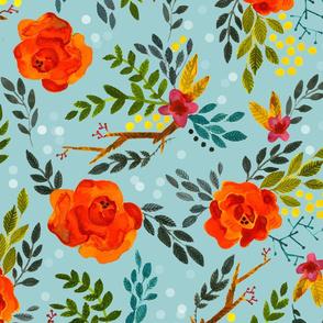Orange Fall Flowers - Large Scale on Blue