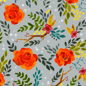 Orange Fall Flowers - Large Scale on Gray