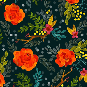 Orange Fall Flowers - Large Scale on Dark Teal