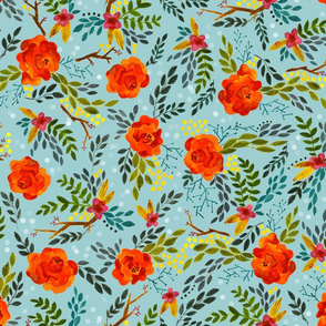 Orange Fall Flowers - Smaller Scale on Blue