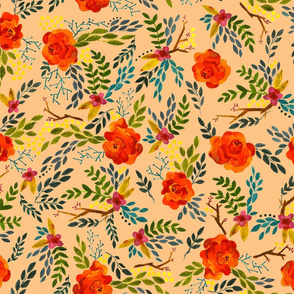 Orange Fall Flowers - Smaller Scale on Peach