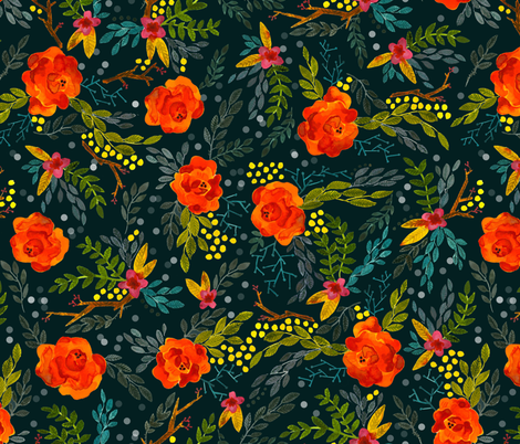 Orange Fall Flowers Smaller Scale On Teal Wallpaper