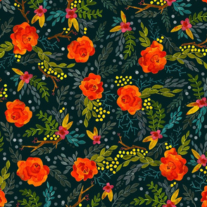 Orange Fall Flowers - Smaller Scale on Teal
