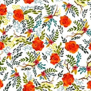 Orange Fall Flowers - Smaller Scale on White