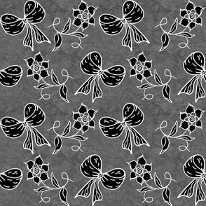 Bows and Flowers Black and Gray