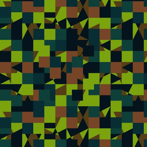 Green Brown Color Pixel Army Camo Camouflage Pattern