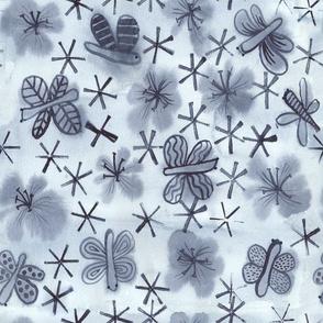 Indigo Butterflies & Blooms