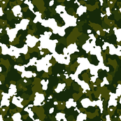 Woodland Green White Color Basic Army Military Camo Camouflage Pattern