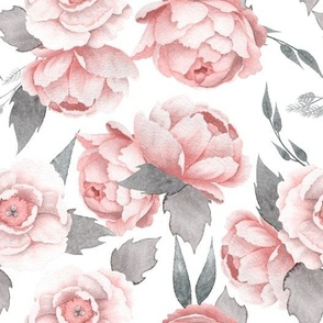 "10 "" Watercolor Blush Rose Peony Pattern"