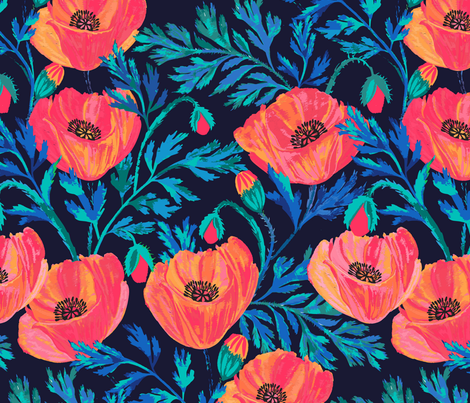 Hand Painted Poppies fabric by jill_o_connor on Spoonflower - custom fabric