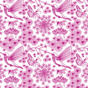 Bird, bee and butterfly pink