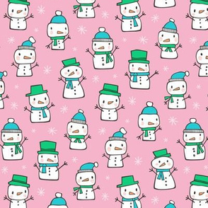 Winter Christmas Snowman & Snowflakes Blue Green on Pink Smaller 1,5 inch