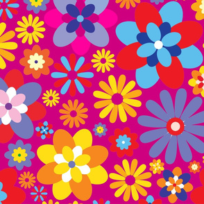 1960 Peace Love Flowers on Pink