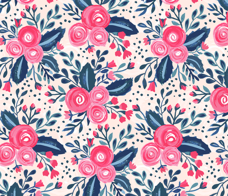 Hand Painted Roses fabric by jill_o_connor on Spoonflower - custom fabric