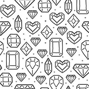 Sketched Jewels in White
