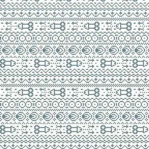 fair isle NSFW ice blue and white